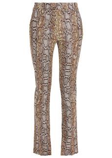 Victoria Beckham Woman Cotton-blend Snake-jacquard Skinny Pants Brown