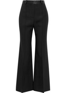 Victoria Beckham Woman Satin-trimmed Wool-gabardine Flared Pants Black