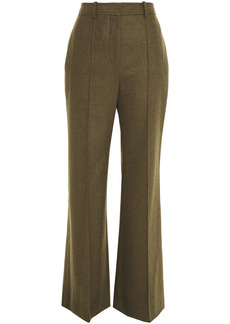 Victoria Beckham Woman Wool-flannel Flared Pants Army Green