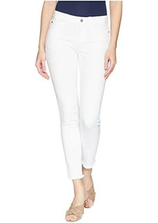 Vince Camuto Five-Pocket Frayed Hem Ankle Jeans in Ultra White