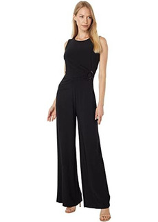 Vince Camuto Jersey Jewel Neck Sleeveless Ruche Side with Ring Jumpsuit