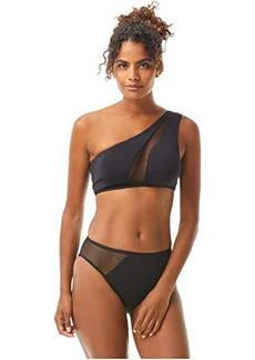 Vince Camuto Mesh Cutouts One Shoulder Bikini Top