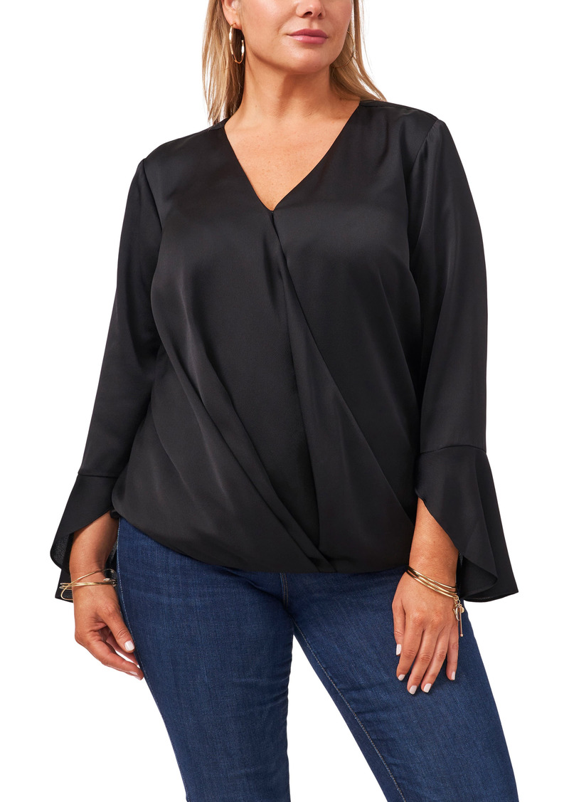 Vince Camuto Bell Sleeve Surplice Satin Blouse