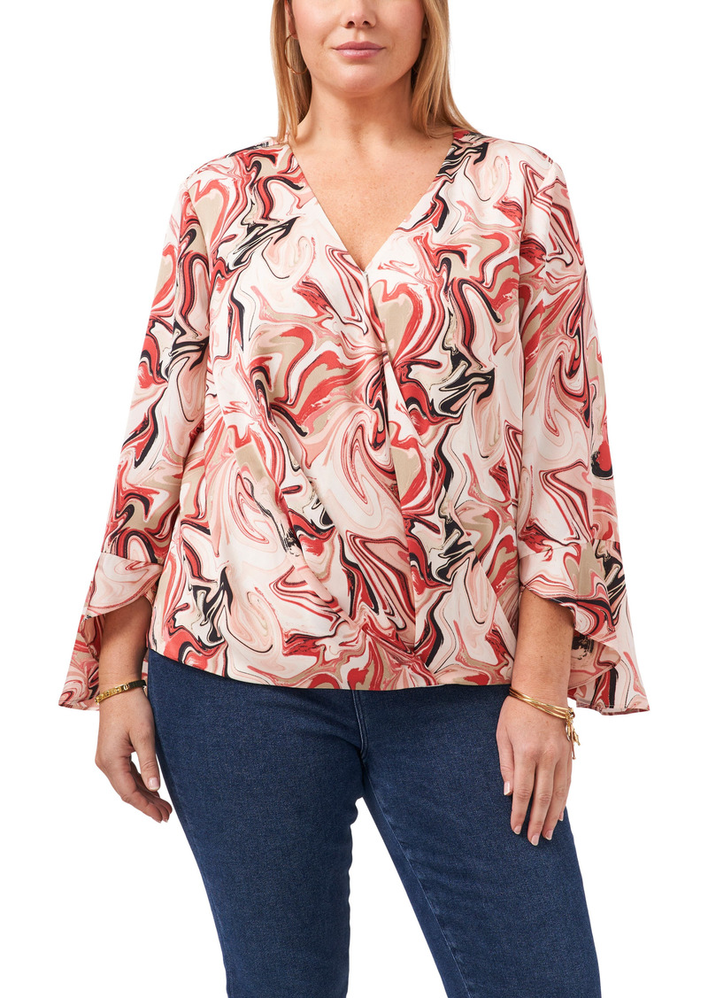 Vince Camuto Flare Cuff Faux Wrap Blouse