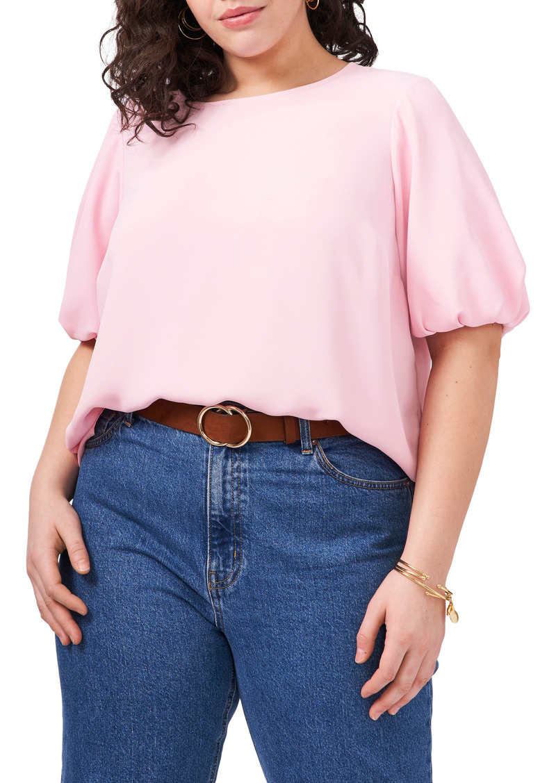 Plus Size Women's Vince Camuto Luxe Puff Sleeve Crepe De Chine Blouse