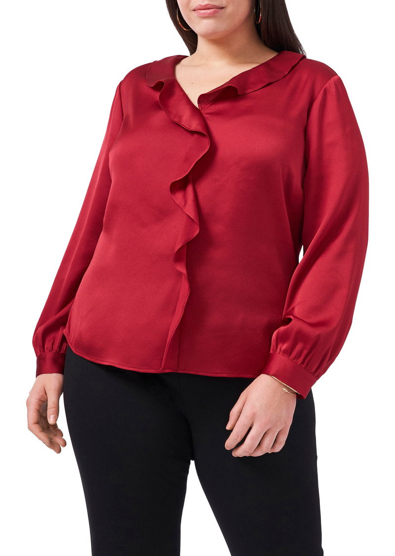 Vince Camuto Ruffle Front Satin Blouse