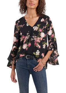Vince Camuto Beautiful Blooms Ruffle Sleeve Georgette Blouse