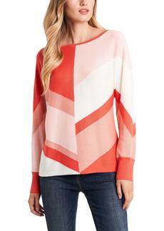 Vince Camuto Chevron Colorblock Cotton Blend Sweater