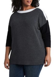 Vince Camuto Colorblock Tunic Sweater (Plus Size)