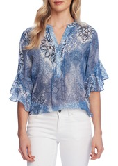 Vince Camuto Distressed Paisley Ruffle Sleeve Blouse