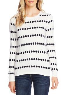 Vince Camuto Dot Jacquard Crewneck Cotton Blend Sweater
