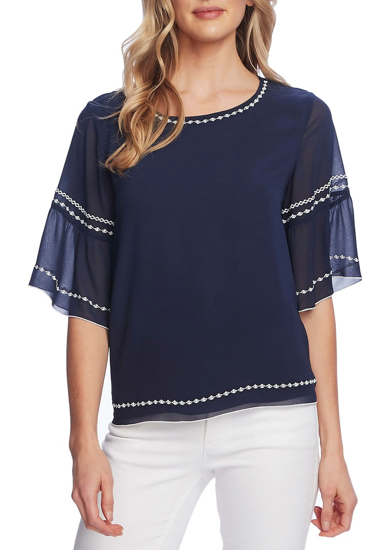 Vince Camuto Embroidered Bell Sleeve Chiffon Blouse