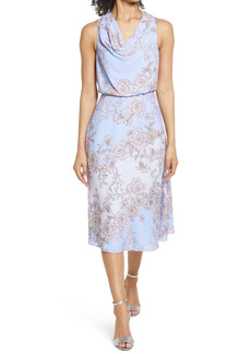 Vince Camuto Floral Cowl Neck Bow Back Crepe Midi Dress
