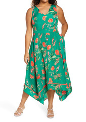 Vince Camuto Floral Handkerchief Hem Sleeveless Midi Dress (Plus Size)
