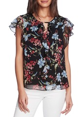 Vince Camuto Floral Print Flutter Sleeve Chiffon Top