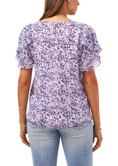 Vince Camuto Floral Tiered Ruffle Sleeve Blouse