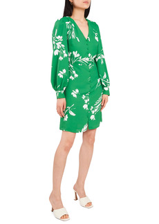 Vince Camuto Floral Wisps Long Sleeve A-Line Dress