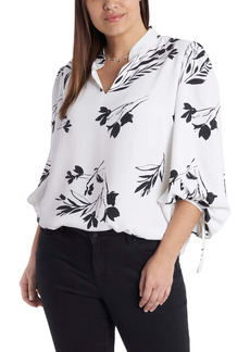 Vince Camuto Floral Wisps Tie Sleeve Blouse (Plus Size)