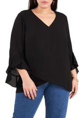 Vince Camuto Flutter Sleeve Crossover Georgette Tunic Top (Plus Size)