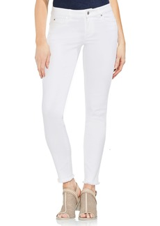 Vince Camuto Fray Hem Skinny Jeans (Ultra White)