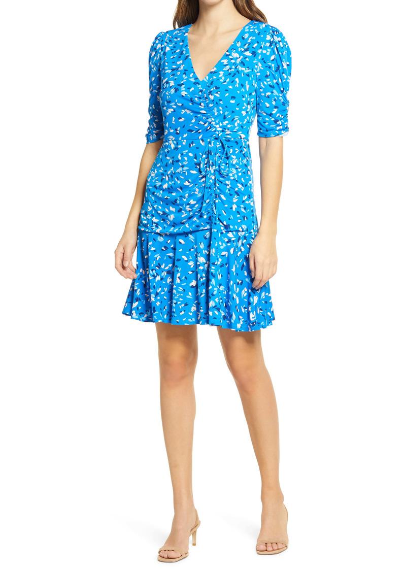 Vince Camuto Leaf Print Ruched A-Line Dress