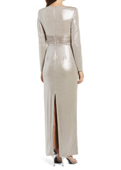 Vince Camuto Long Sleeve Metallic Wrap Gown