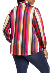 Vince Camuto Mayfair Stripe Ruffle Neck Satin Blouse (Plus Size)