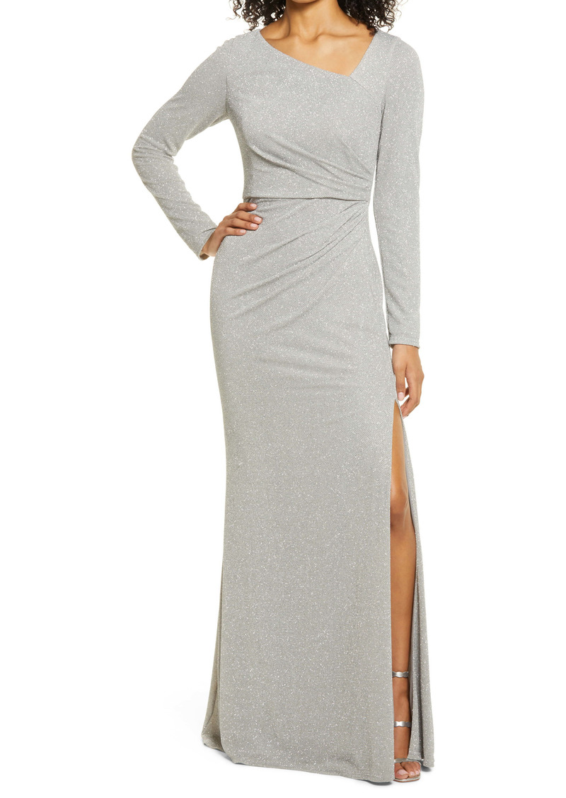 Vince Camuto Metallic Asymmetrical Neck Long Sleeve Gown