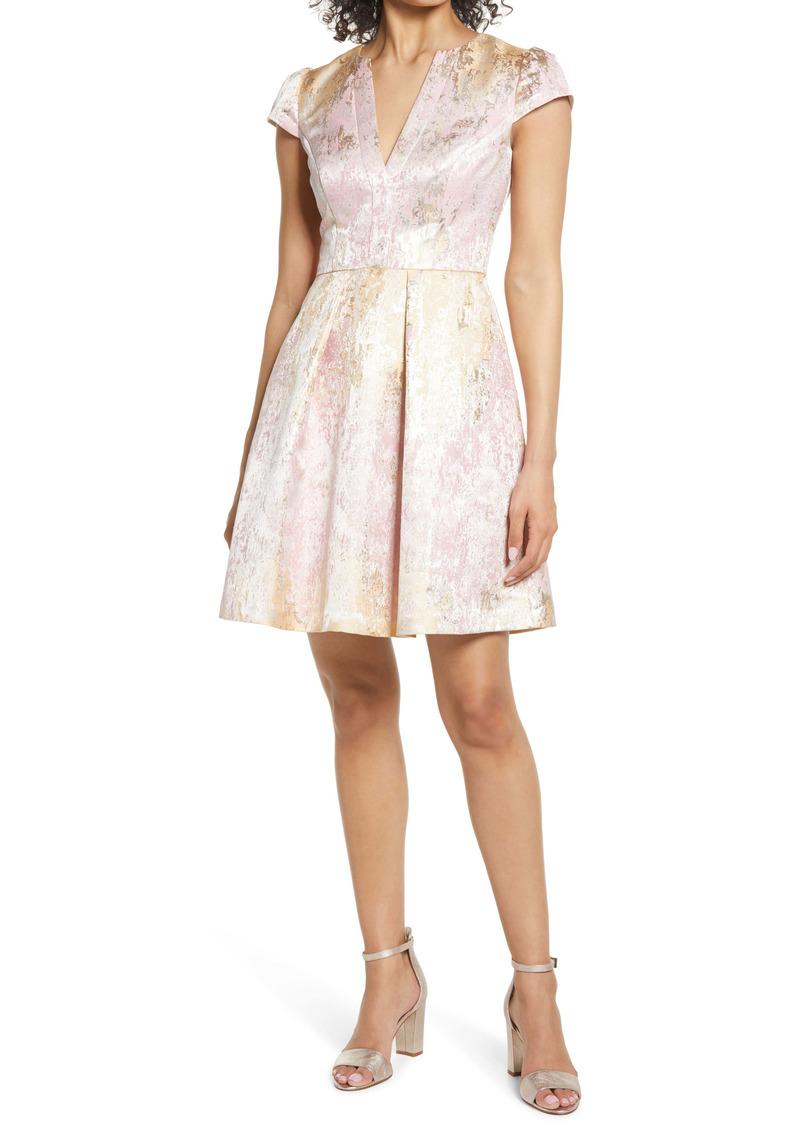 Vince Camuto Metallic Jacquard Satin Fit & Flare Dress