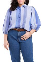 Vince Camuto Mix Stripe Puff Sleeve Cotton Button-Up Blouse (Plus Size)