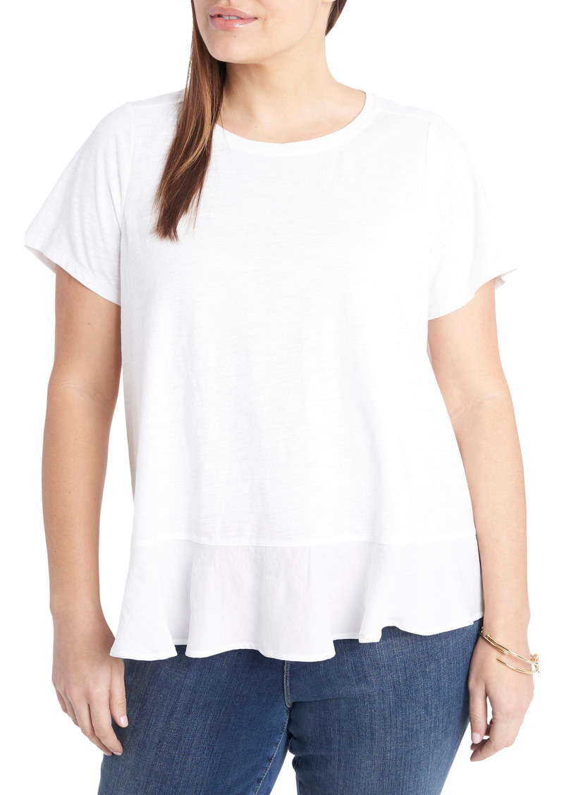 Vince Camuto Mixed Media Knit & Woven Top (Plus Size)
