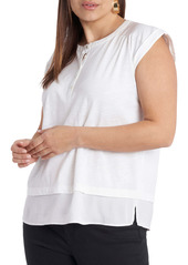 Vince Camuto Mixed Media Layered Henley Top (Plus Size)