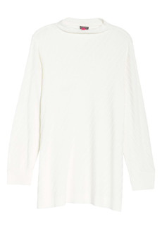 Vince Camuto Mock Neck Cotton Blend Tunic Sweater (Plus Size)