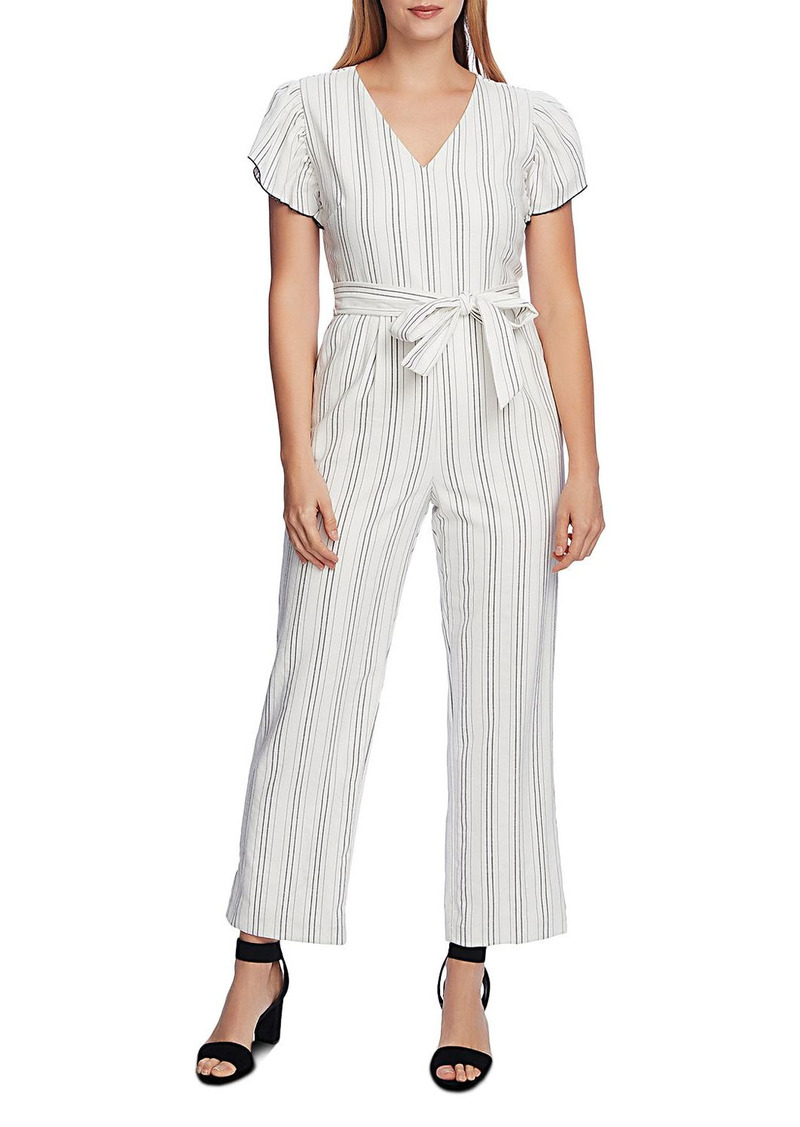 VINCE CAMUTO Pinstriped Flutter-Sleeve Jumpsuit