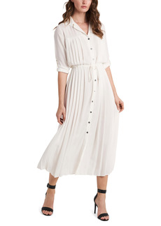 Vince Camuto Pleated Tie Waist Shirtdress