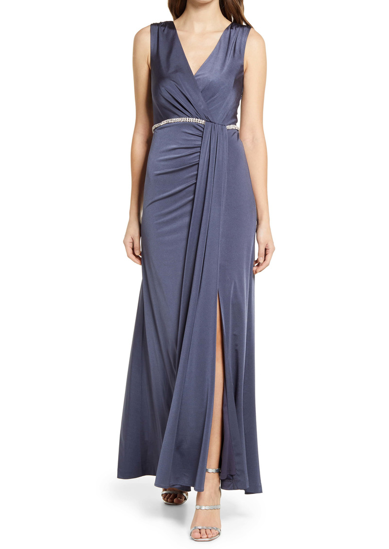 Vince Camuto Rhinestone Belt Wrap Front Sleeveless Gown