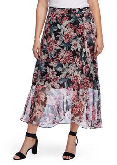 Vince Camuto Romantic Lilies Wrap Chiffon Skirt
