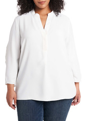 Vince Camuto Ruched Sleeve Split Neck Blouse (Plus Size)