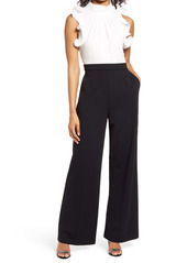 Vince Camuto Ruffle Sleeve Mix Media Jumpsuit