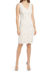 Vince Camuto Scallop Hem Lace Sheath Cocktail Dress