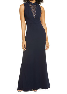 Vince Camuto Sequin Inset Mock Neck Sleeveless A-Line Gown