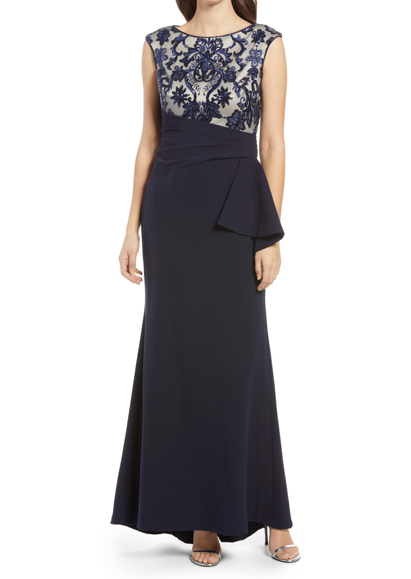 Vince Camuto Sequin Lace Bodice Trumpet Gown