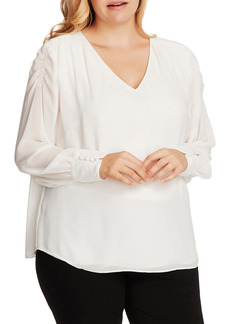 Vince Camuto Smocked Shoulder V-Neck Top (Plus Size)