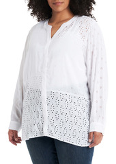 Vince Camuto Split Neck Embroidered Tunic (Plus Size)