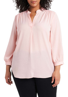 Vince Camuto Split Neck Rumpled Satin Top (Plus Size)