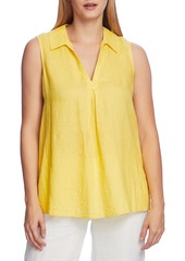 Vince Camuto Split Neck Sleeveless Linen Top