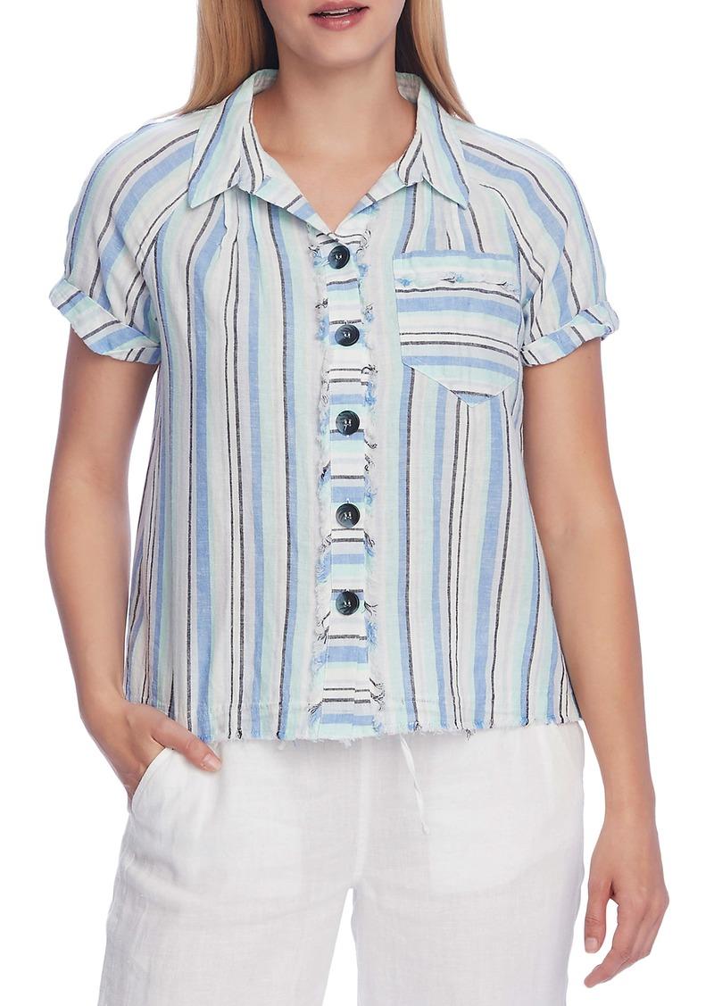 Vince Camuto Stripe Linen & Cotton Shirt