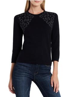 Vince Camuto Stud Shoulder Animal Jacquard Sweater