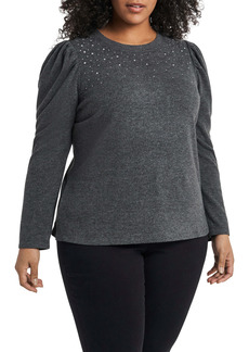 Vince Camuto Studded Long Sleeve Top (Plus Size)