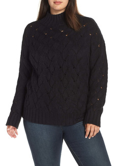 Vince Camuto Texture Stitch Mock Neck Sweater (Plus Size)
